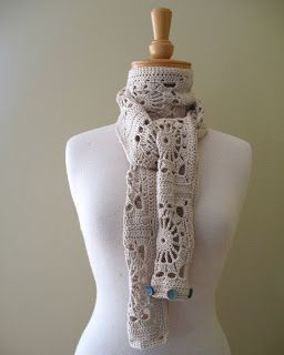 Granny square scarf with buttons