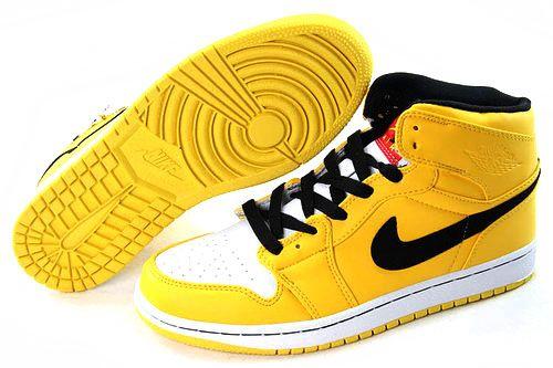 8c53b721672e0f 30% OFF Men s Nike Air Jordan 1 High Shoes Yellow Black White  89.98 ...