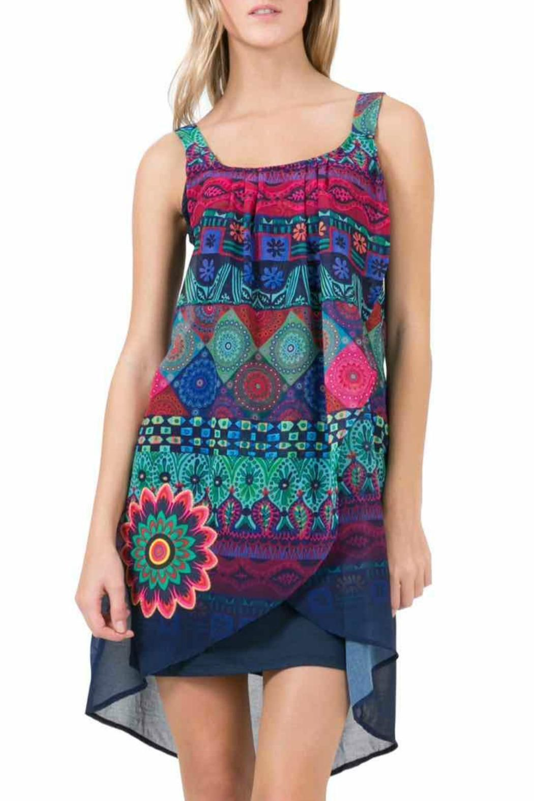 869dd2c11774 Fun sleeveless blue dress with a crossover layer of printed chiffon. A  great spring