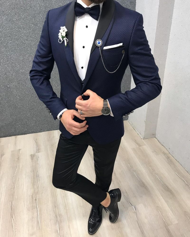 aa13b5958c9 Product  Slim-Fit Shawl Collar Grooms Vest Suit Color Code  Navy Blue Size   46-48-50-52-54-56 Suit Material  70% viscose