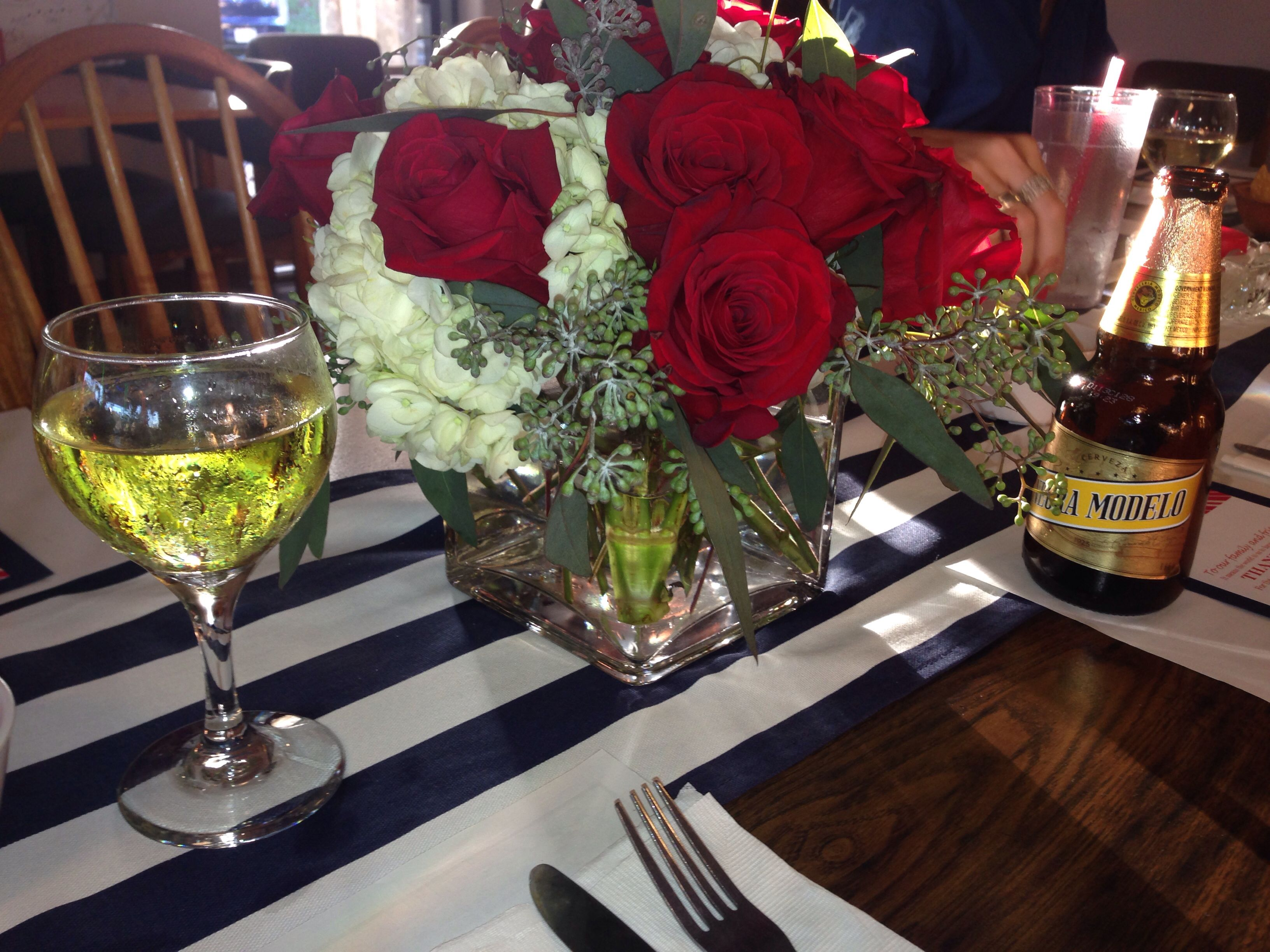 Red Roses And White Hydrangea Centerpieces With Navy Blue And White