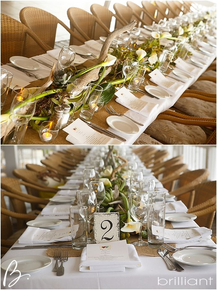 Organic table runner made out of driftwood calla lily for Driftwood table centerpieces