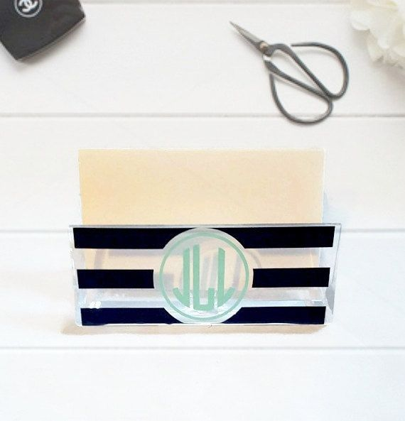Personalized business card holder monogram business card holder personalized business card holder monogram business card holder office decor desk accessory colourmoves