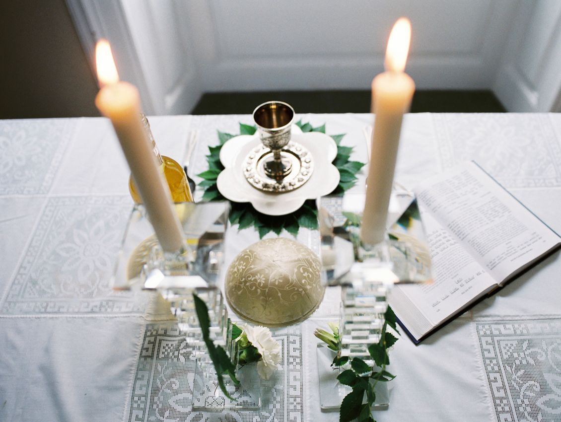 Elegant dinner table setting - Shabbat Table Setting Decor Simchaclick