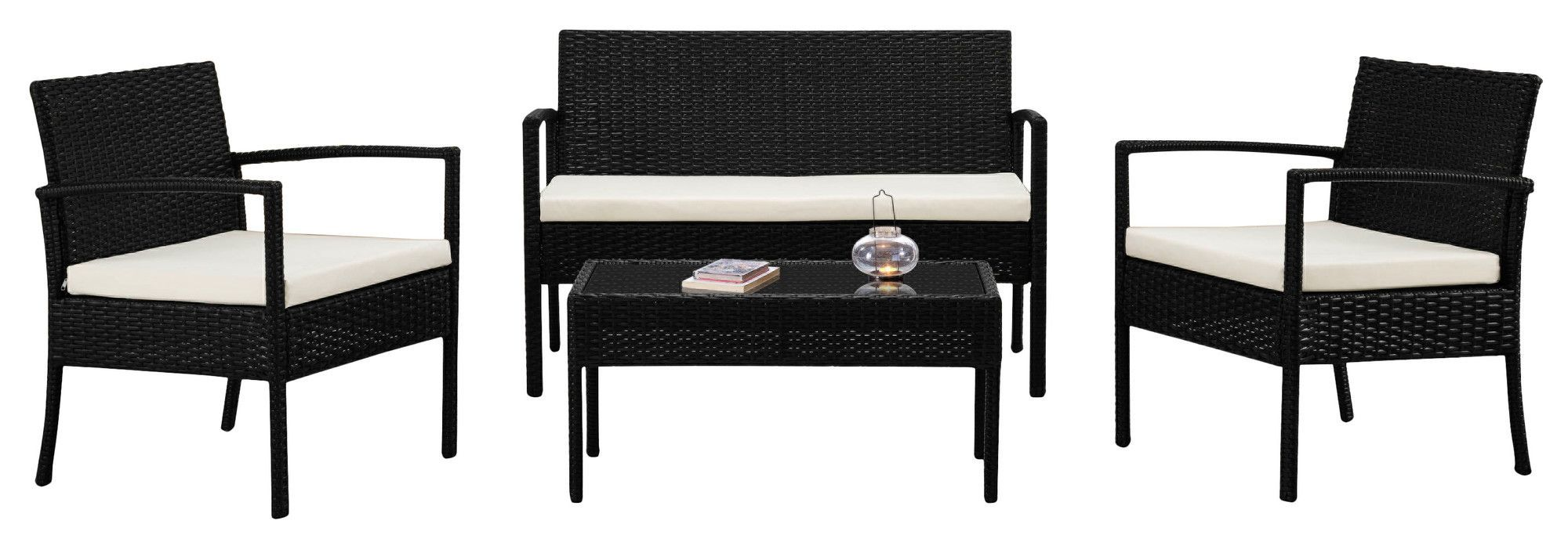 4 Piece Wicker Seating Group with Cushion