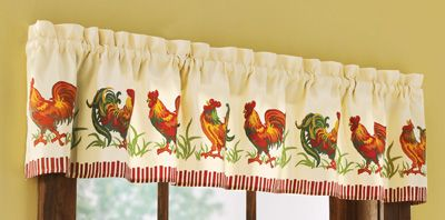 Country Farmyard Rooster Window Valance Collections For The Home