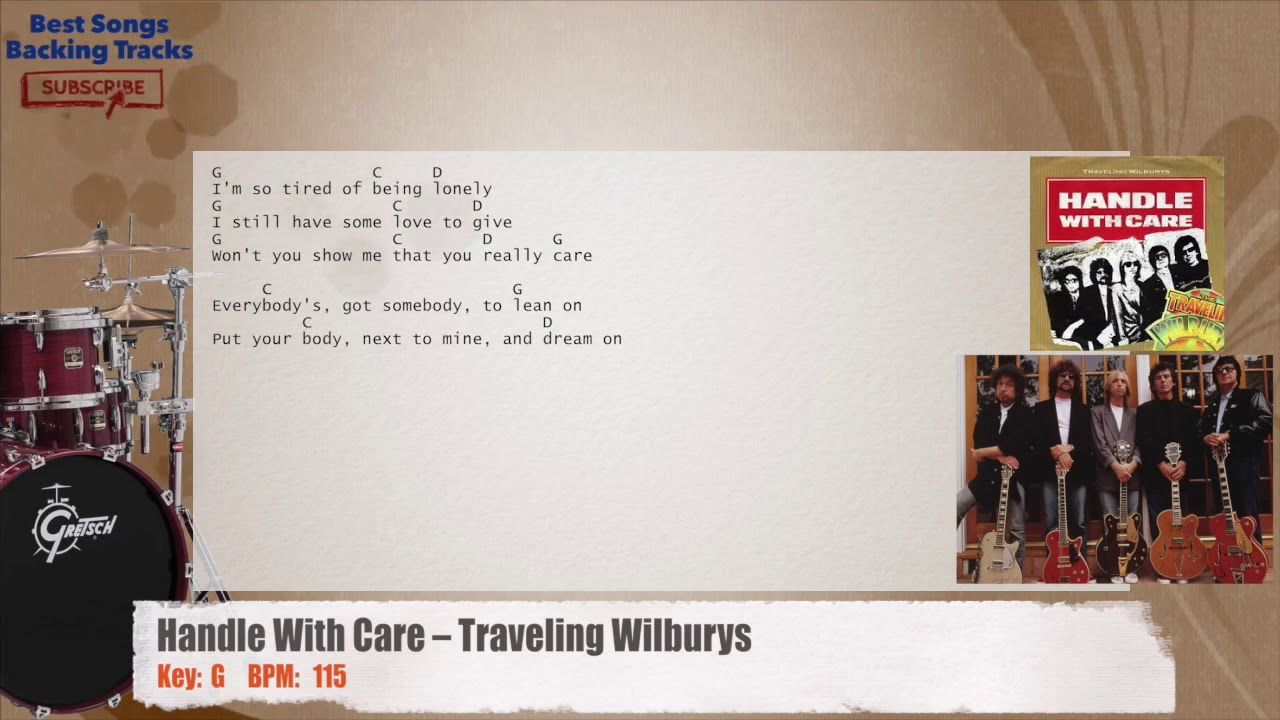 Handle With Care Traveling Wilburys Drums Backing Track With Chords
