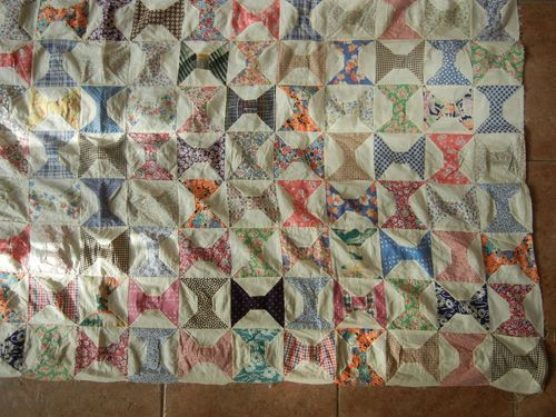 Vintage hand stitched and machine sewn bow tie quilt top feedsack vintage hand stitched and machine sewn bow tie quilt top feedsack cotton ebay ccuart Image collections