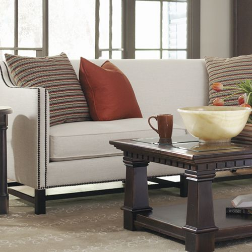 Bernhardt Chatham Sofa Pacific Canyon Tail Table Detail With Red Accents