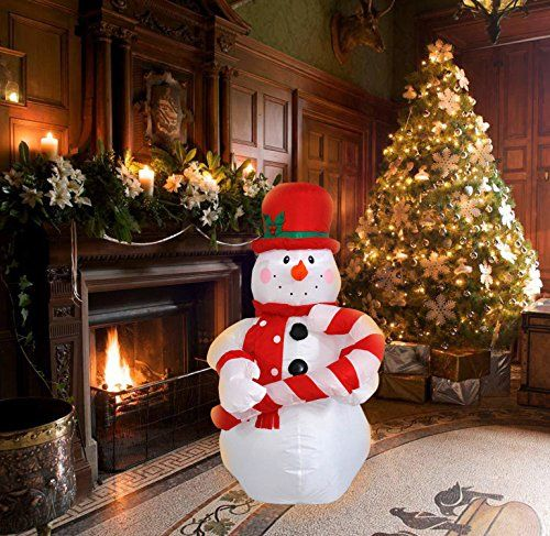 4 Ft Inflatable Christmas Snowman hold a Candy Cane Decoration for