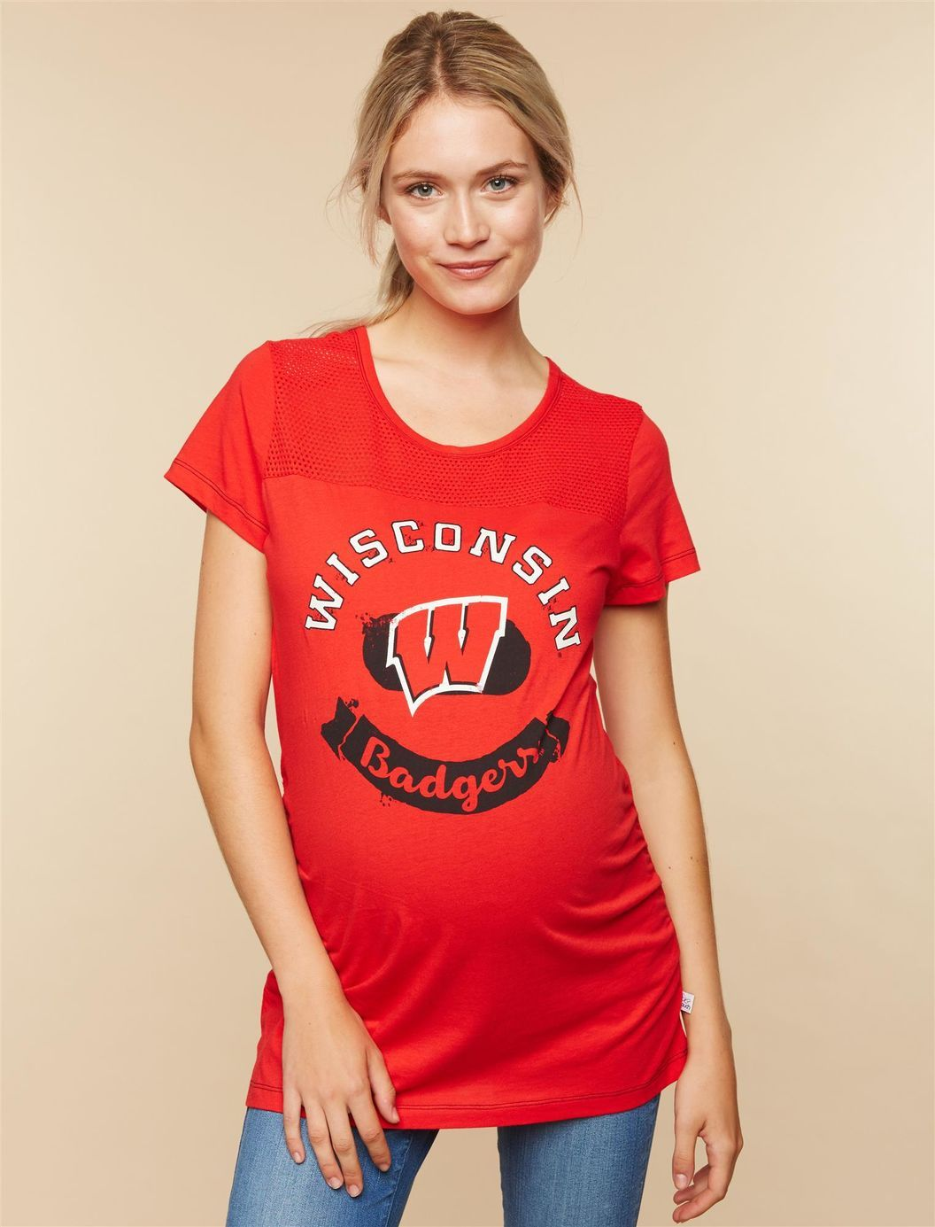 Touch by Alyssa Milano Wisconsin Badgers NCAA Mesh Detail Maternity Tee  8f897315b