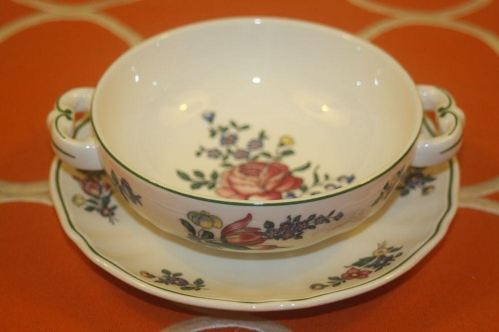 Villeroy Boch Alt Strassburg Footed Cream Bowls Saucers No 4 Green Set of 3  | eBay