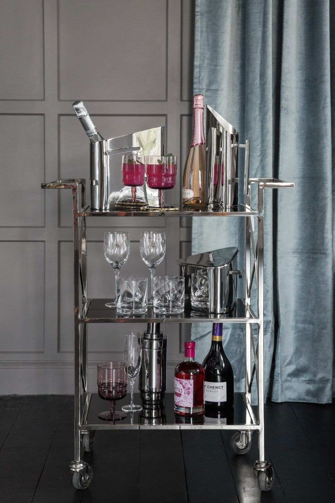 Buy A By Amara Three Tier Drinks Trolley Black Silver Amara In 2020 Silver Bar Cart Bar Cart Decor Drinks Trolley