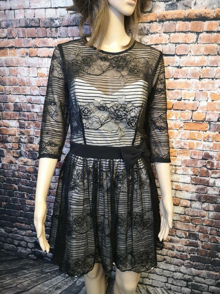Black lace fit flare dress bodice full skirt prom