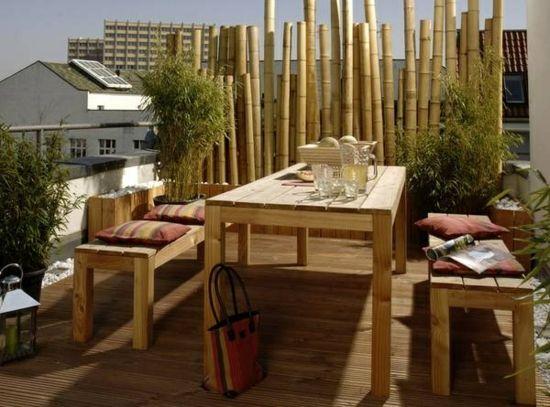 Bambus Zaun Paravent Balkon Gestalten Ideen Sichtschutz