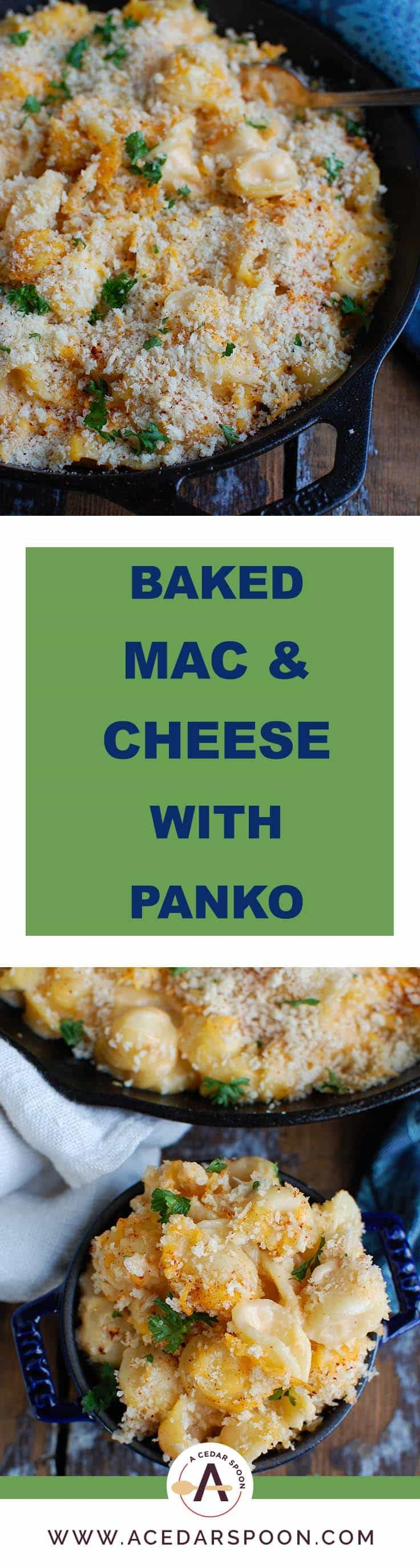 Baked Mac and Cheese with Panko Breadcrumbs #bakedmacandcheeserecipe