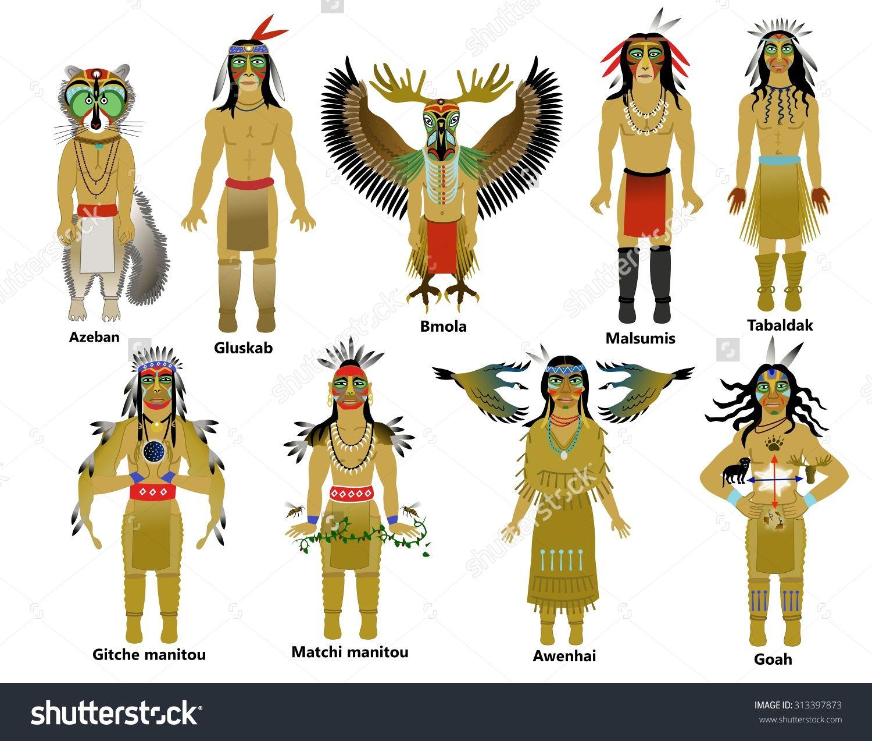 Native American Gods Of The Abenaki And Algonquian People Stock ...