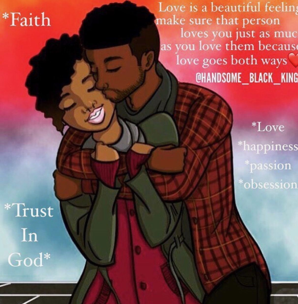 Love & happiness quotes and things Black couple art