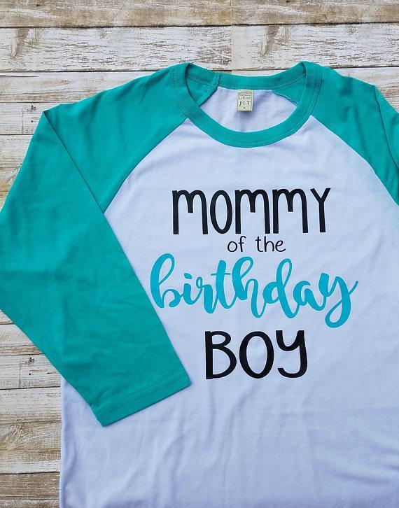 Mommy Of The Birthday Boy Raglan 3 4 Sleeve T Shirt Outfit Baseball Tee Adult