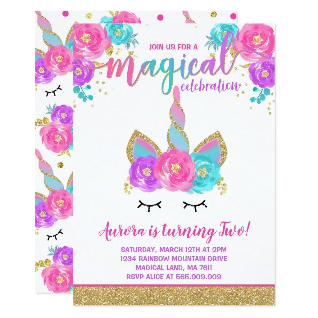 Magical Unicorn Birthday Invitation Unicorn Party Zazzle