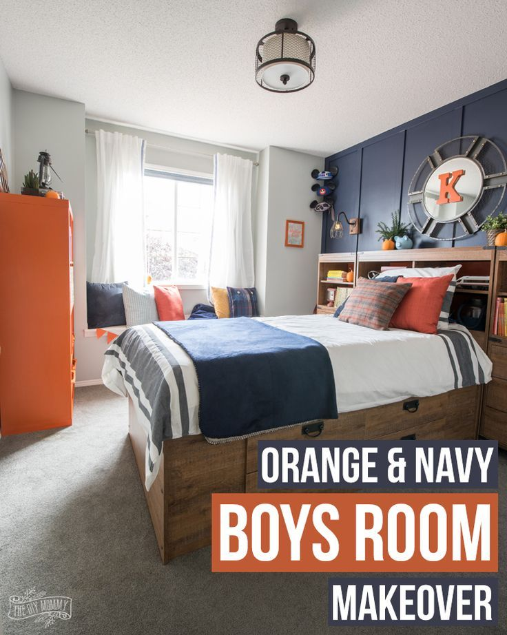 Diy Home Ilration Description Navy And Orange Modern Nautical Boy Bedroom Makeover Read More