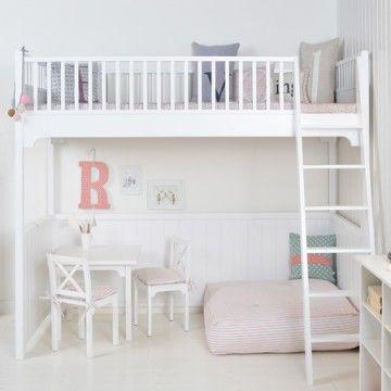 lit mezzanine 1 place bois blanc