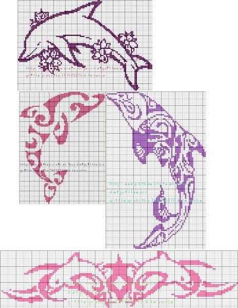 15 grilles dauphins dauphins point de croix mer. Black Bedroom Furniture Sets. Home Design Ideas