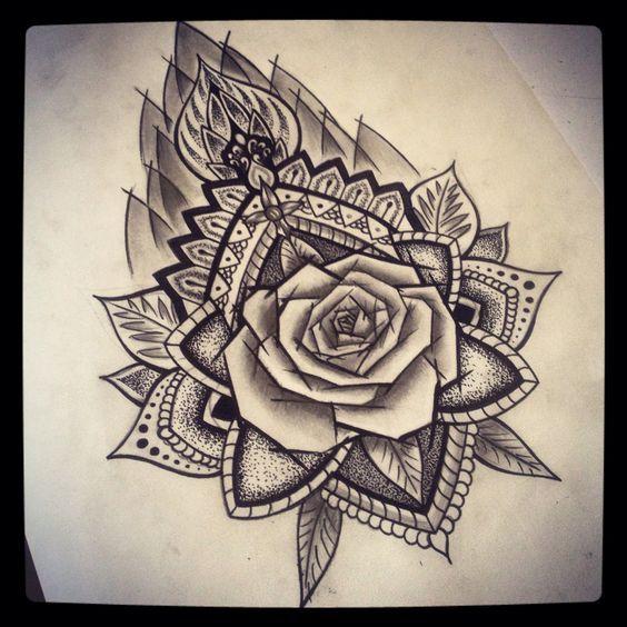 rosa mandala mandala half 4 tattoos rose tattoos tattoos and piercings dotwork tattoos flowers tattz ideea tatoo mandala tattoo rose