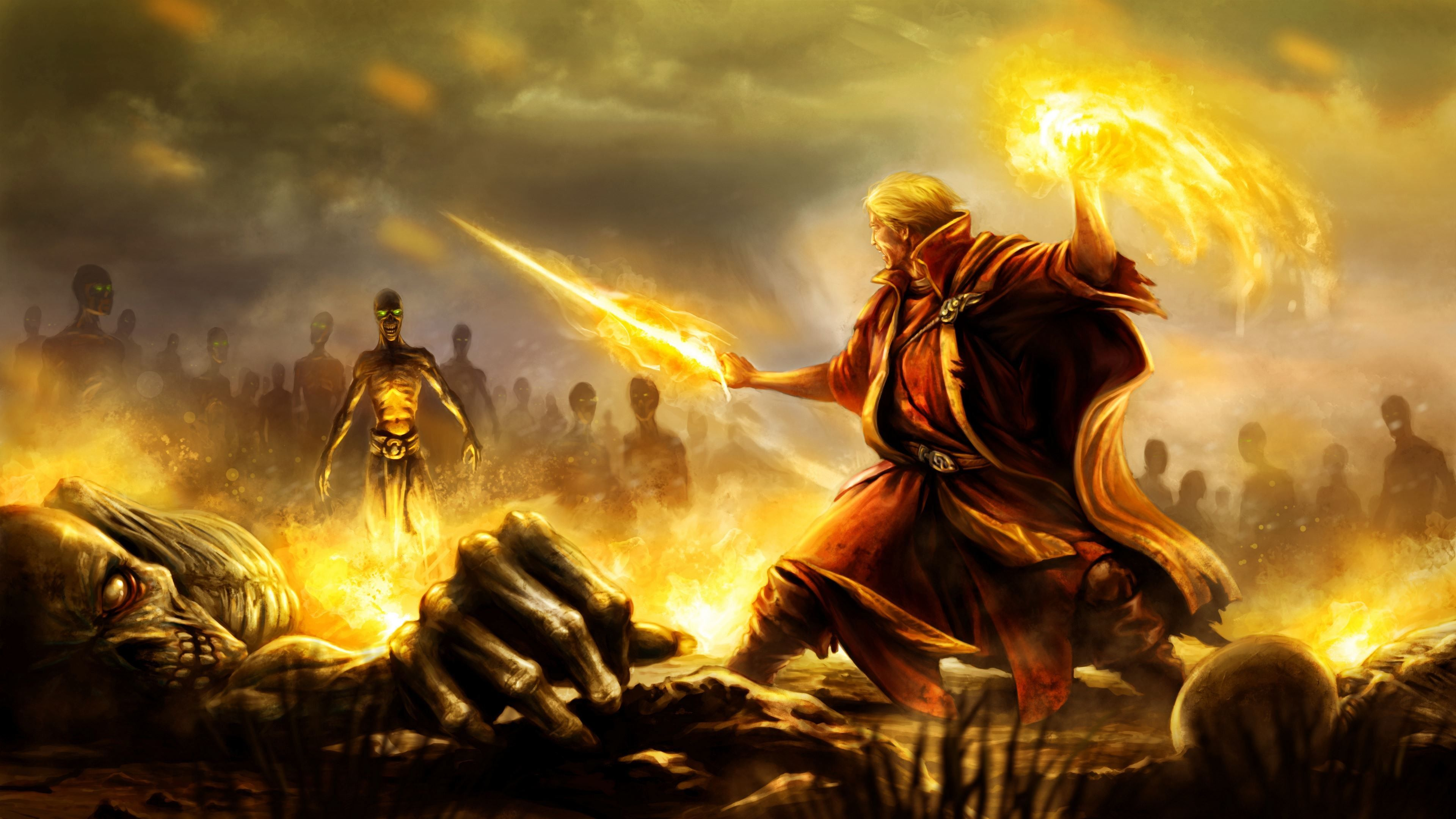 Battle Mage Art 3840x2160 Ultra Hd Wallpaper Mage Battle Mage Fantasy Wizard