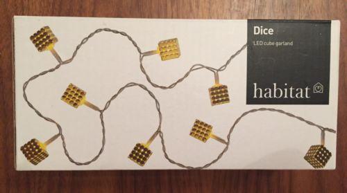 Bnib £18 habitat gold #metal led cube dice #string fairy #lights