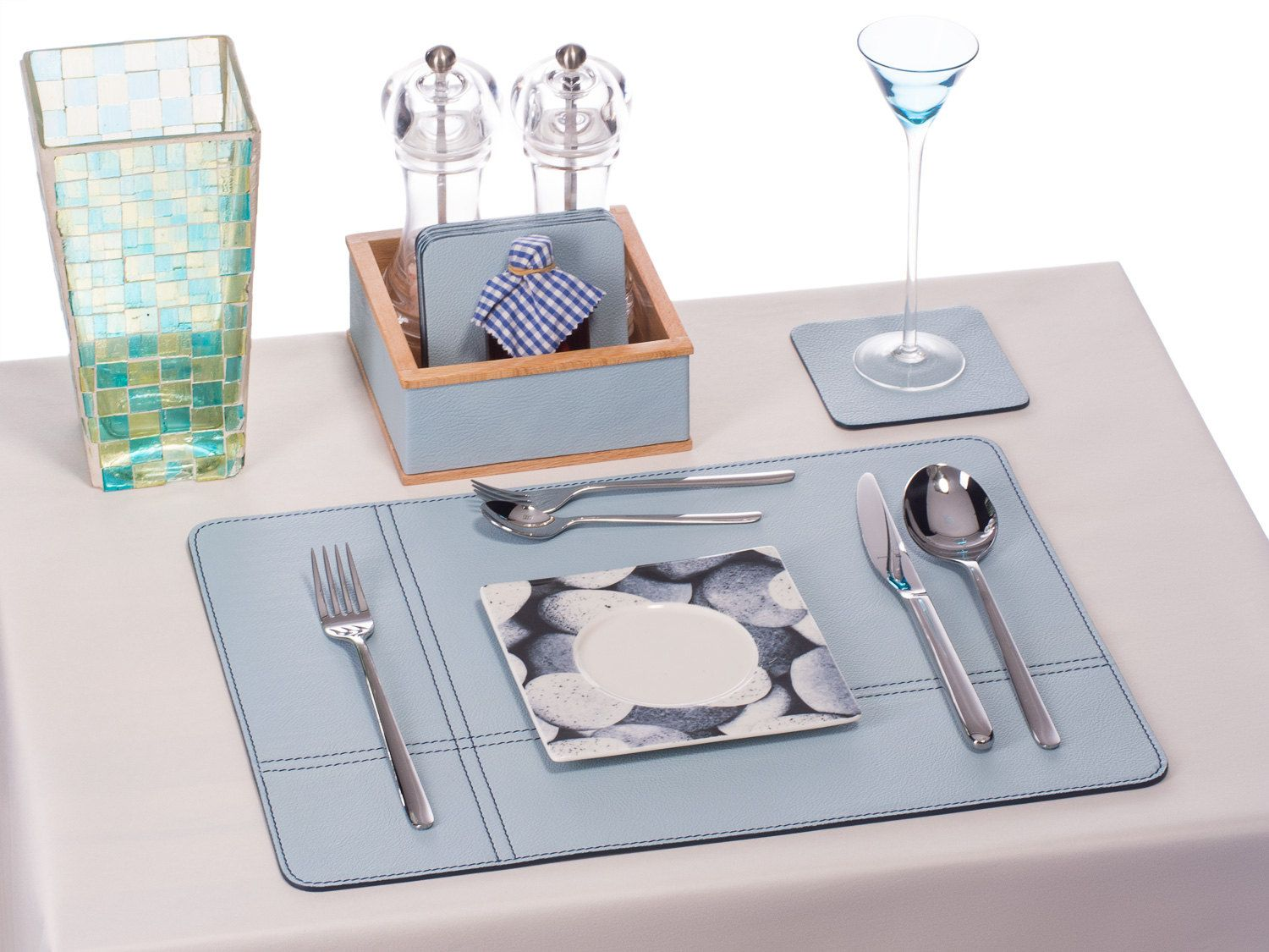 Leather Placemats Light Blue Table