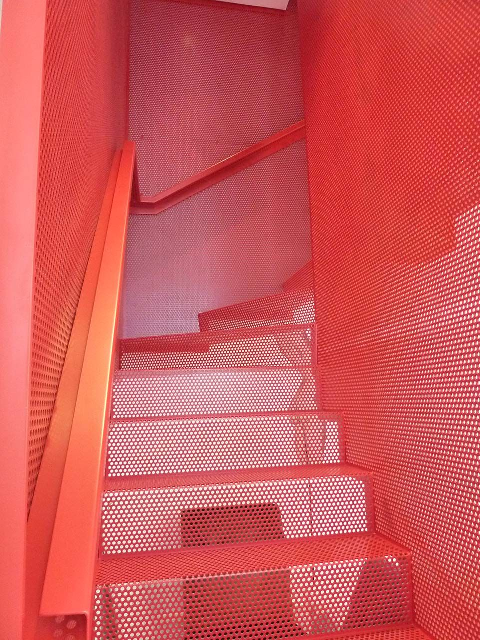 Best Red Perforated Steel Floating Staircase Mba Stairs 640 x 480