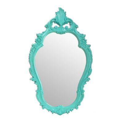 Teal floral curves decorative mirror best decorative for Teal framed mirror
