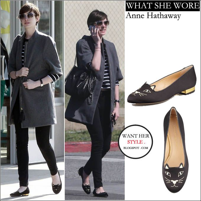 WHAT SHE WORE: Anne Hathaway in grey coat with black kitty cat flat slippers in Los Angeles on March 4