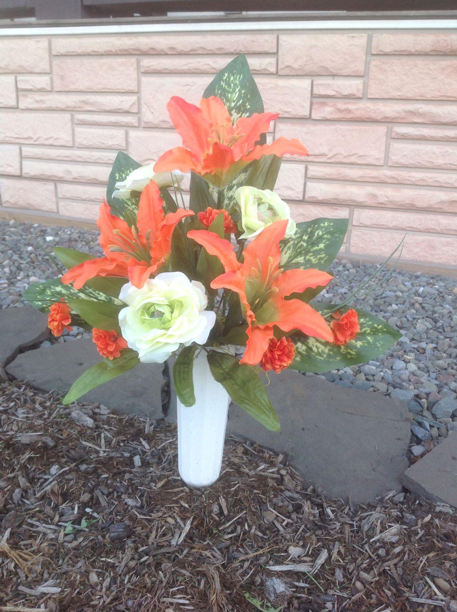Cemetery Vase Silk Flower Design Arrangement Orange Lilies Green