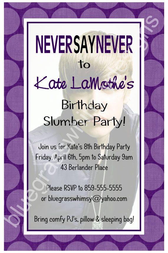 71dfc13a92fa3e209085f6699c12de42 justin bieber never say never birthday invitation purple polka,What To Say On Birthday Invitation