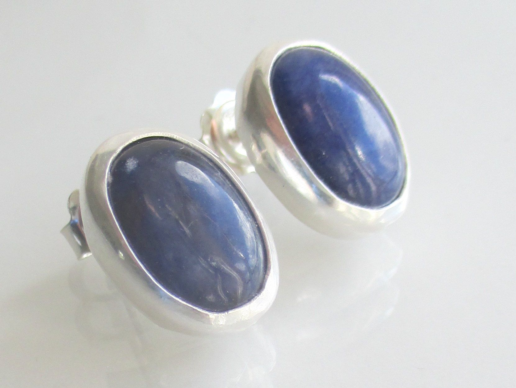 Sodalite stud earrings.  14 x 10mm oval cbochon gems.  (2nd view).  Item:  CP