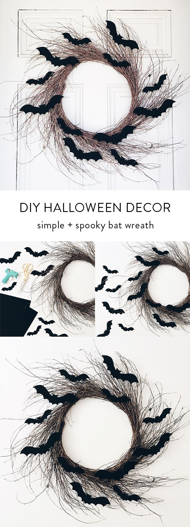 diy halloween decor: rustic bat wreath