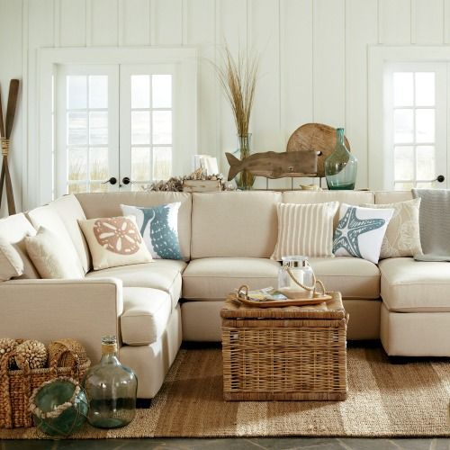 sandy beige and blue living room http://www.beachblissdesigns