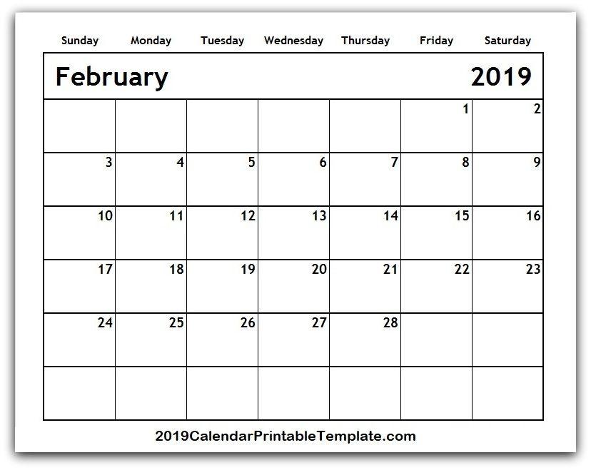 February 2019 Calendar USA UK Canada https//www