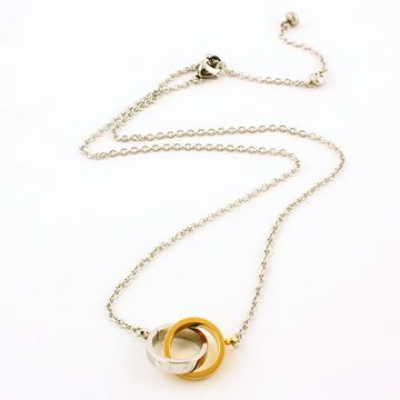 Twin Baby Trinity Necklace with #Yellow Gold Chain