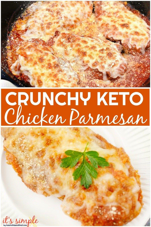 Keto Chicken Parmesan- CRUNCHY, JUICY Low Carb Chicken Parmesan