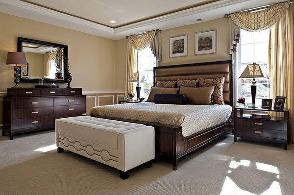 contemporary master bedroom decorating ideaswith dark wood bedroom furniture sets and stylish white bedroom bench