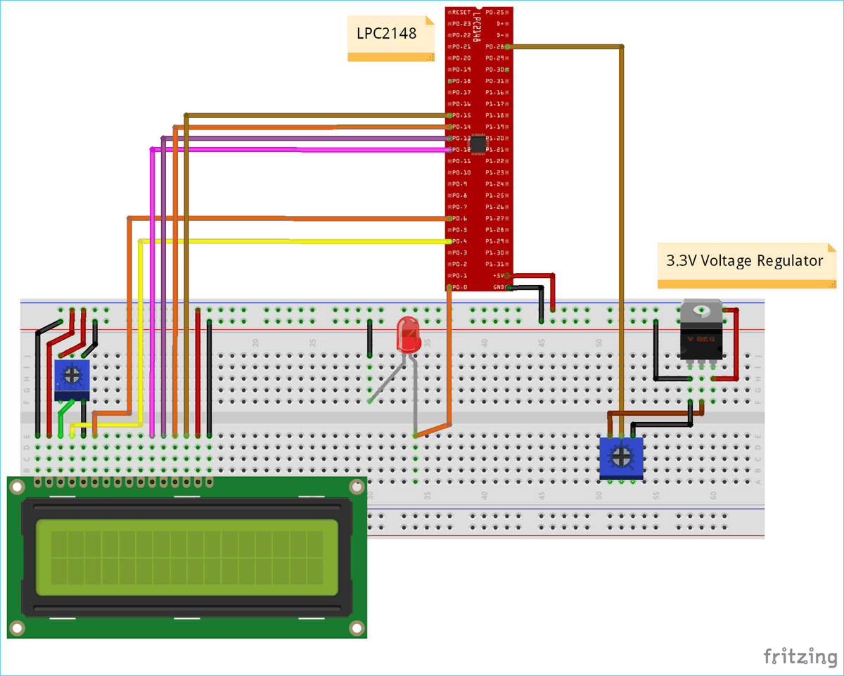 Circuit Diagram for Pulse width Modulation (PWM) using ARM7