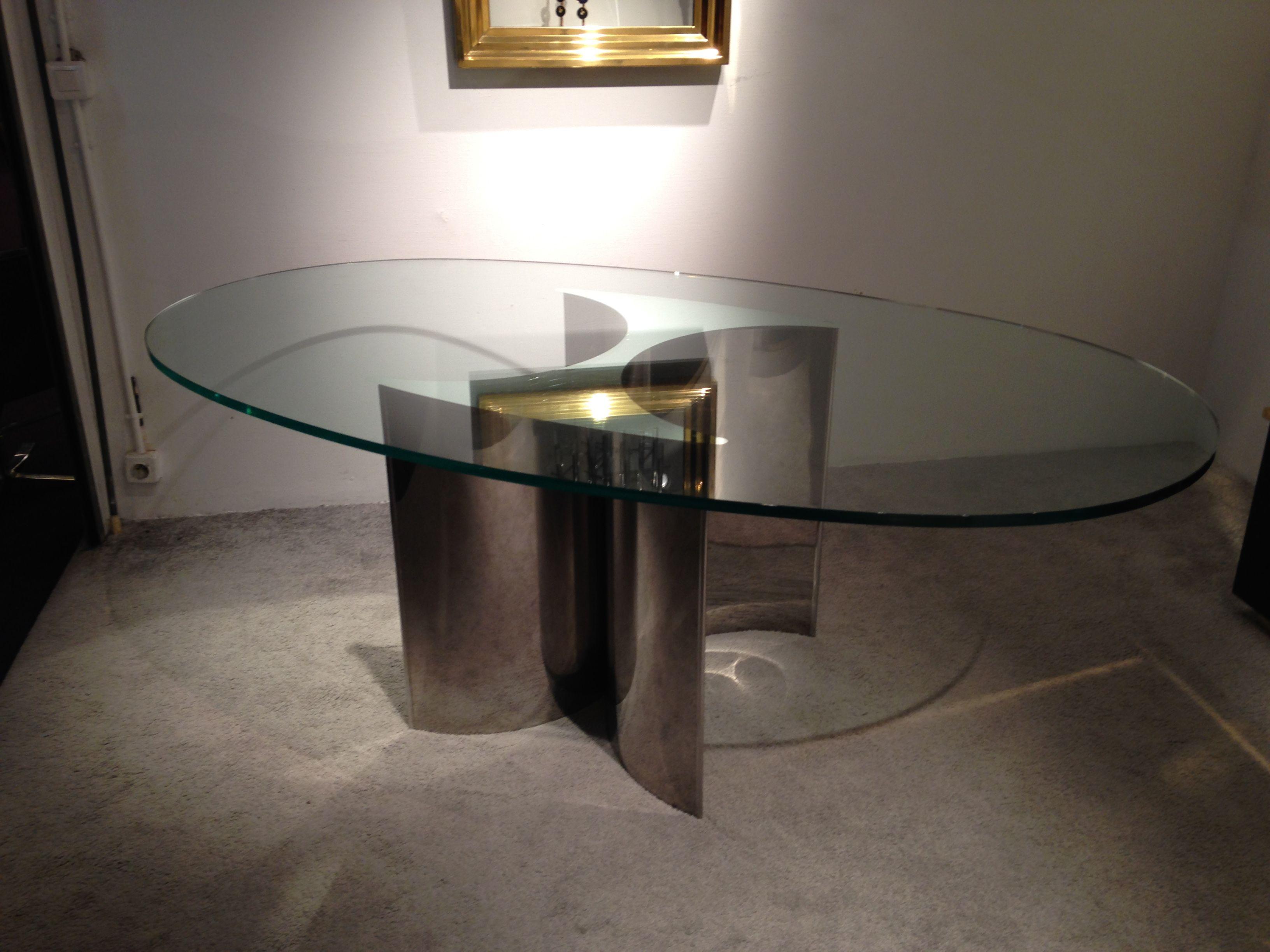 Table de salle manger en acier et verre 1970 glass furniture pinterest futuristic - Table salle a manger en verre ...