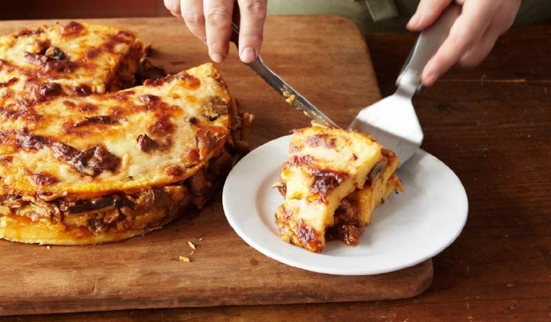 Polenta Pasticiatta ai Funghi (Baked Polenta Layered with Mushroom Ragu). via Lidia's Italy