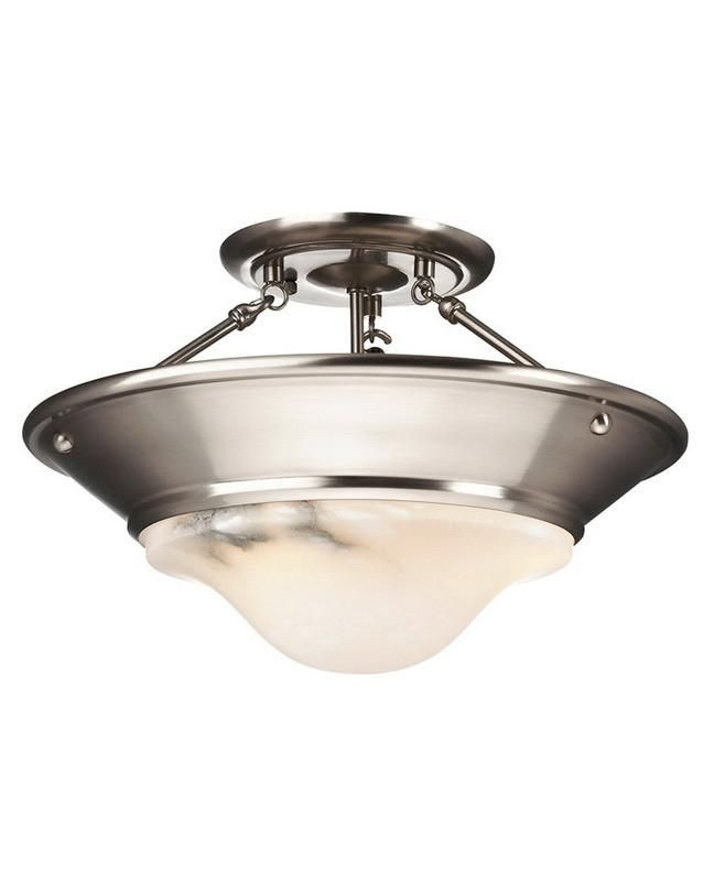 Forecast Lighting F489 36 Discovery Collection Three Light Semi Flush In Satin Nickel Finish And