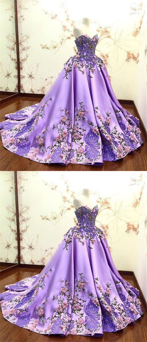 Lilac prom dress with lace appliques long quinceanera dresses ball
