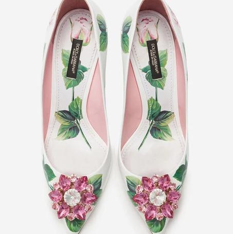 Dolce & Gabbana Tropical Rose Print Shiny Calfskin