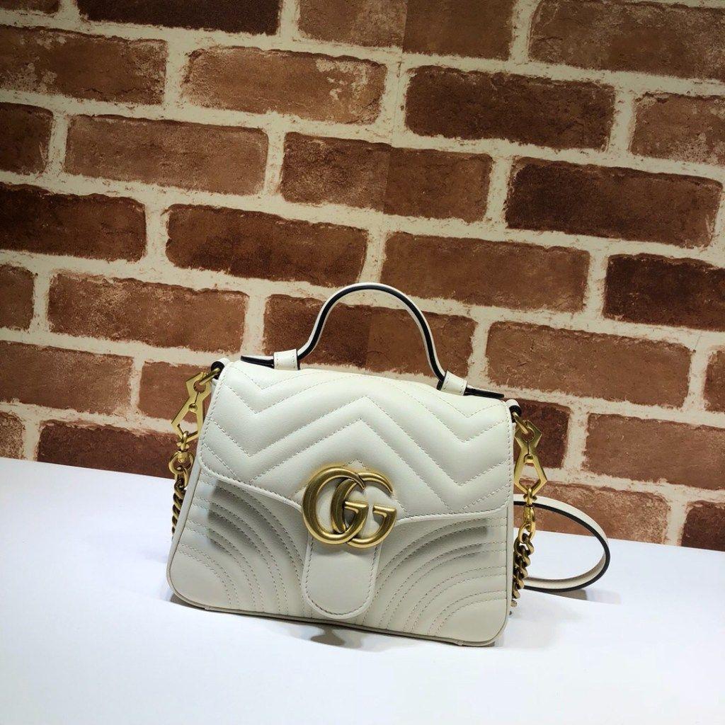 344f49e16 Gucci GG Marmont mini top handle bag 547260 White | Luxury Handbags ...